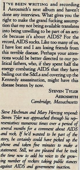 Aerosmith / Steven Tyler Writes Letter About AIDS | Magazine Article (1992)
