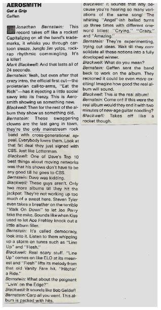 Aerosmith / Get a Grip - Album Review #1 | Magazine Article (1993)