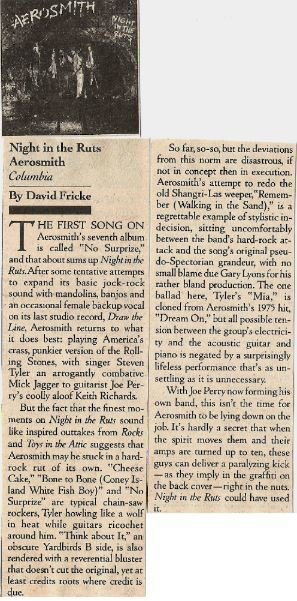 Aerosmith / Night In the Ruts - Album Review #1 | Magazine Article (1980)