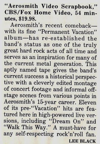 Aerosmith / Aerosmith Video Scrapbook - Home Video Review #1 | Magazine Article (1988)