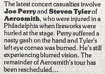 Aerosmith / Latest Concert Casualties | Magazine Article (1978)