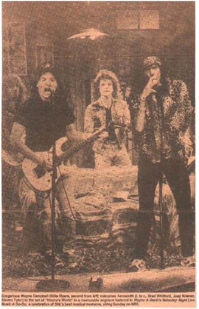 Aerosmith / With Mike Myers on Saturday Night Live | Newspaper Photo with Caption (1990)