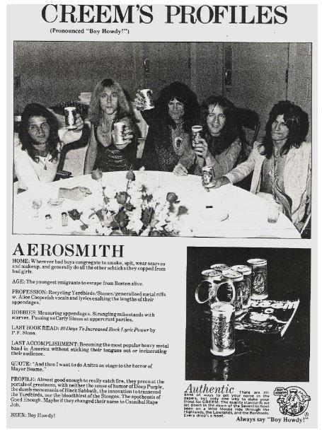 Aerosmith / Creem's Profiles (Boy Howdy Beer Ad) | Magazine Ad (1977)