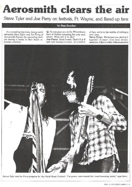 Aerosmith / Aerosmith Clears the Air | Magazine Article with Photo (1979)