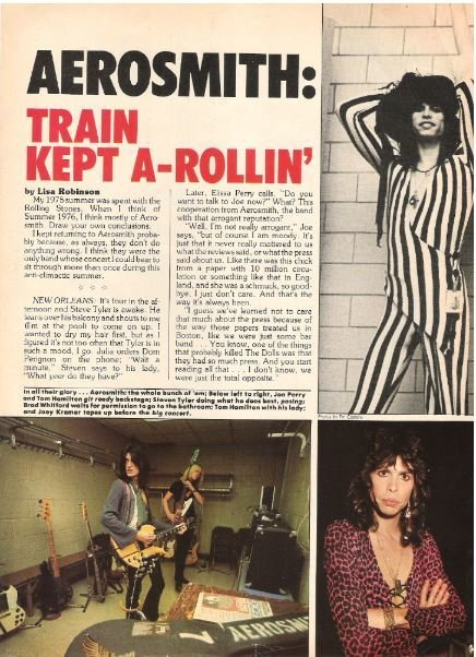 Aerosmith / Aerosmith: Train Kept A-Rollin' | Magazine Article with 3 Photos (1976)