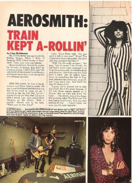 Aerosmith / Aerosmith: Train Kept A-Rollin' | Magazine Article with 3 Photos (1976)