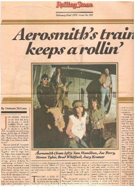 Aerosmith / Aerosmith's Train Keeps A Rollin' | Magazine Article with 2 Photos (1979)