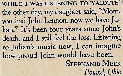 Lennon, Julian / Listening to Valotte (Reader Letter) | Magazine Article  (1985)