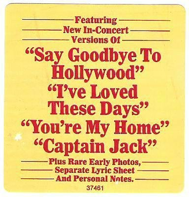 Joel, Billy / Songs In the Attic / Columbia 37461 / Sticker / 1981 Issue