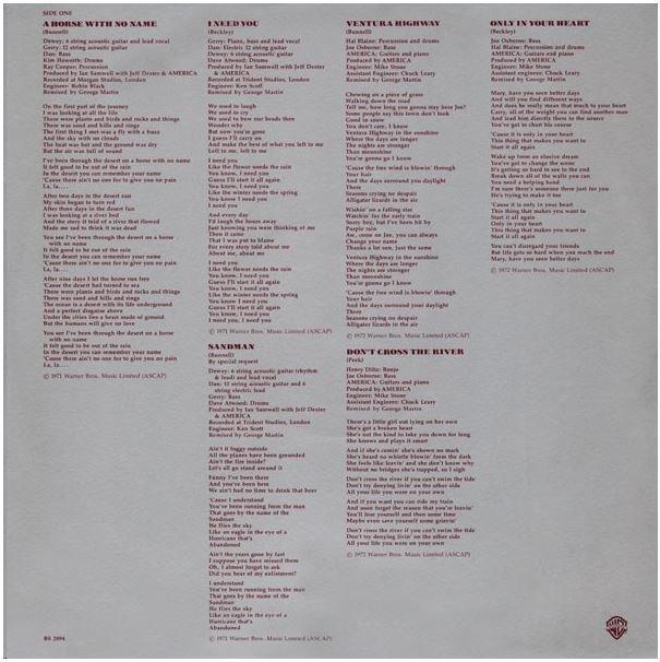America / History - America's Greatest Hits   Warner Bros. BSK-3110   Inner Sleeve   1975