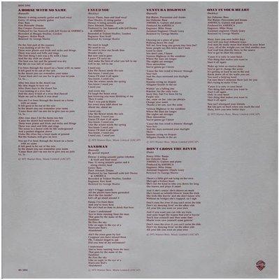 America / History - America's Greatest Hits | Warner Bros. BSK-3110 | Inner Sleeve | 1975