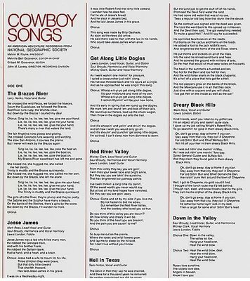 Various Artists / Cowboy Songs / National Geographic Society 07786 | Inner Sleeve | 1976