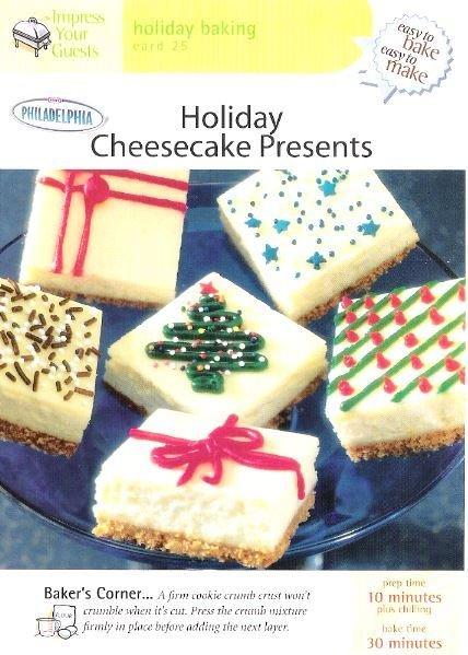 Easy to Bake, Easy to Make / Holiday Cheesecake / Holiday Baking Card 25 | Recipe Card | 2001