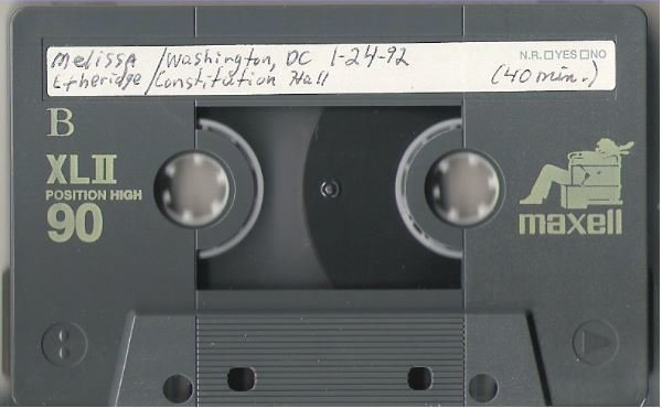 Etheridge, Melissa / Washington, DC - January 24, 1992 | Live + Rare Cassette
