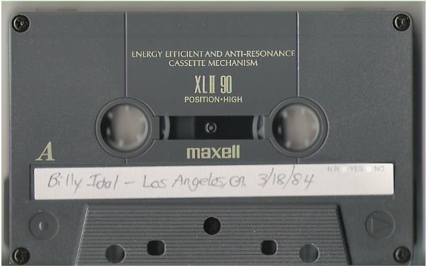 Idol, Billy / Los Angeles, CA - March 18, 1984 | Live + Rare Cassette