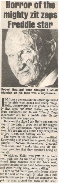 England, Robert (as Freddie Krueger) / Horror of the Mighty Zit Zaps Freddie Star | Magazine Article + Photo | 1990