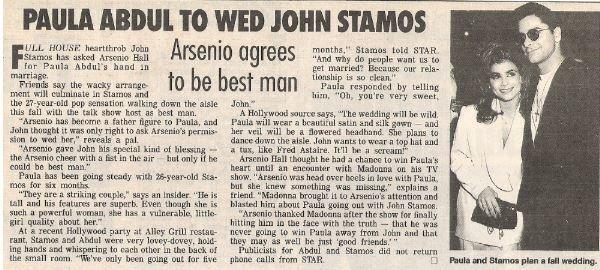 Abdul, Paula / Paula Abdul to Wed John Stamos | Magazine Article + 1 Photo | 1990