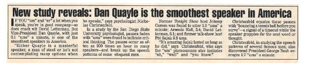 Quayle, Dan / Smoothest Speaker in America | Magazine Article | 1992