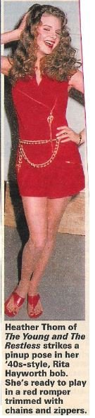 Thom, Heather / Red Romper Trimmed with Chains and Zippers | Magazine Photo with Caption | 1992