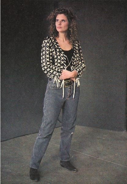 Timmins, Margo / Black Leather Shoelace Jacket | Magazine Photo | 1992