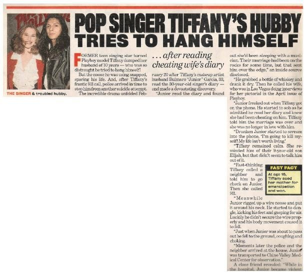 Tiffany / Pop Singer Tiffany's Husband Tries to Hang Himself | Magazine Article with Photo | 2002