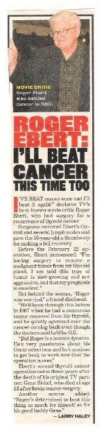 Ebert, Roger / I'll Beat Cancer This Time Too | Magazine Article with Photo | 2002