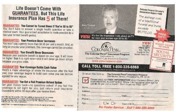 Trebek, Alex / Colonial Penn - Life Doesn't Come with Guarantees | Magazine Ad | 2002