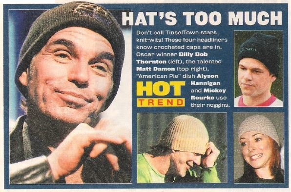 Thornton, Billy Bob / Hat's Too Much | 4 Magazine Photos with Caption | 2002