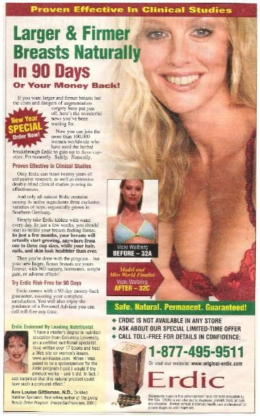 Erdic / Larger + Firmer Breasts Naturally | Magazine Ad | 2002