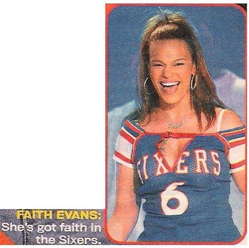 Evans, Faith / She's Got Faith in the Sixers | Magazine Photo with Caption | 2002