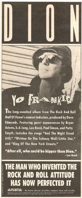 Dion / Yo Frankie - The Man Who Invented the Rock and Roll Attitude | Magazine Ad | 1989