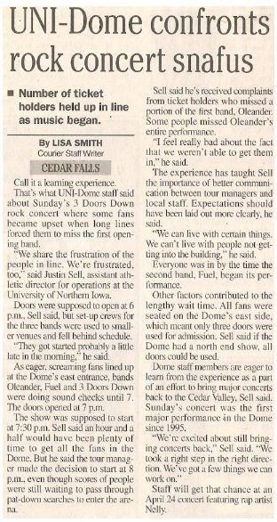3 Doors Down / UNI-Dome Confronts Rock Concert Snafus   Newspaper Article   2001