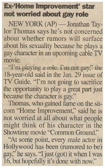 Thomas, Jonathan Taylor / Ex-Home Improvement Star Not Worried About Gay Role | Newspaper Article | January 2000