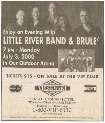 Little River Band / Enjoy An Evening With Little River Band + Brule' | Newspaper Ad with 2 Photos | 2000