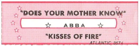 Abba / Does Your Mother Know | Atlantic 3574 | Jukebox Title Strip | May 1979
