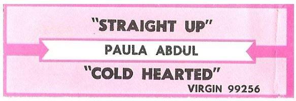Abdul, Paula / Straight Up | Virgin 99256 | Jukebox Title Strip | November 1988