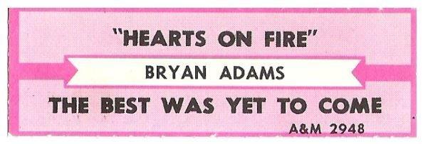 Adams, Bryan / Hearts On Fire | A+M 2948 | Jukebox Title Strip | June 1987
