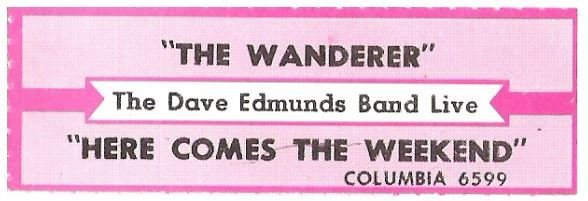 Edmunds, Dave (Band) / The Wanderer | Columbia 6599 | Jukebox Title Strip | January 1987