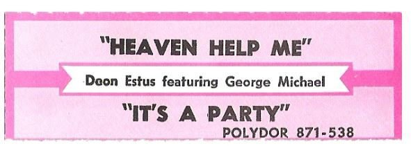Estus, Deon / Heaven Help Me | Polydor 871-538 | Jukebox Title Strip | February 1989 | featuring George Michael