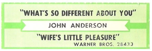 Anderson, John / What's So Different About You   Warner Bros. 28433   Jukebox Title Strip   February 1987
