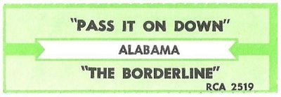 Alabama / Pass It On Down | RCA 2519 | Jukebox Title Strip | March 1990
