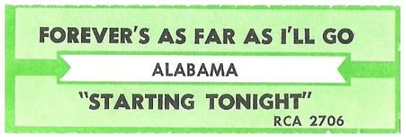 Alabama / Forever's As Far As I'll Go | RCA 2706 | Jukebox Title Strip | November 1990