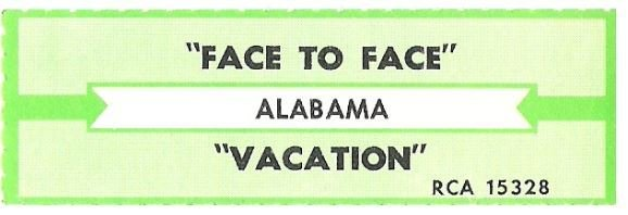 Alabama / Face To Face | RCA 15328 | Jukebox Title Strip | December 1987