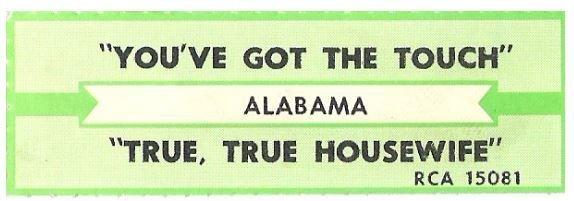 Alabama / You've Got the Touch | RCA 15081 | Jukebox Title Strip | December 1986