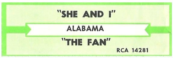 Alabama / She and I | RCA 14281 | Jukebox Title Strip | December 1985