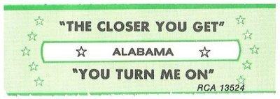 Alabama / The Closer You Get | RCA 13524 | Jukebox Title Strip | April 1983