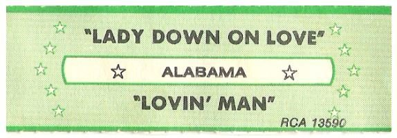 Alabama / Lady Down On Love | RCA 13590 | Jukebox Title Strip | August 1983
