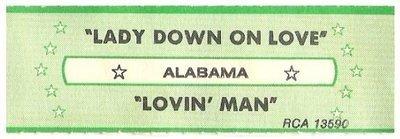 Alabama / Lady Down On Love | RCA 13590 | Jukebox Title Strip | August 1983