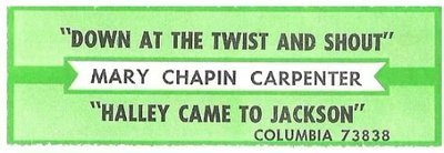 Carpenter, Mary Chapin / Down at the Twist and Shout | Columbia 73838 | Jukebox Title Strip | May 1991