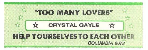 Gayle, Crystal / Too Many Lovers | Columbia 2078 | Jukebox Title Strip | April 1981